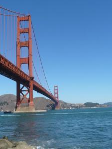 The Golden Gate Bridge from below